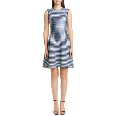 Akris Punto Stripe Fit & Flare Sweater Dress, Blue