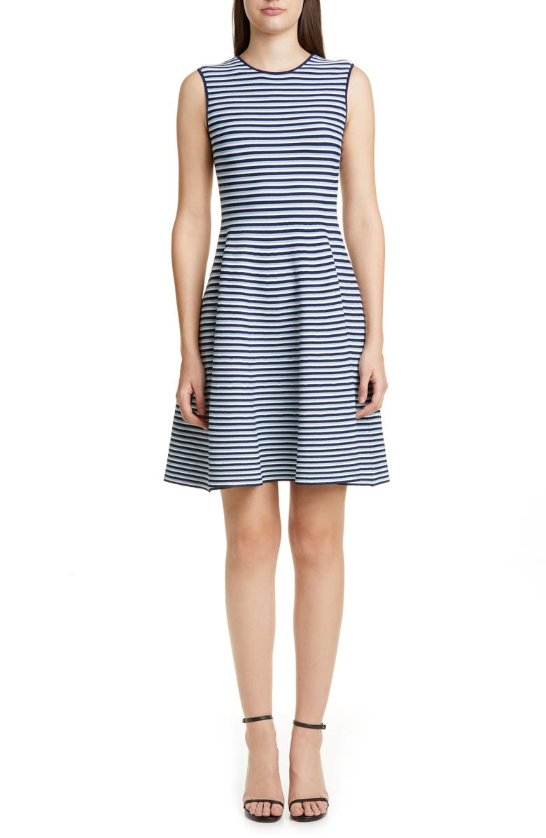 AKRIS PUNTO Stripe Fit & Flare Sweater Dress, Main, color, BLUE MULTI STRIPE