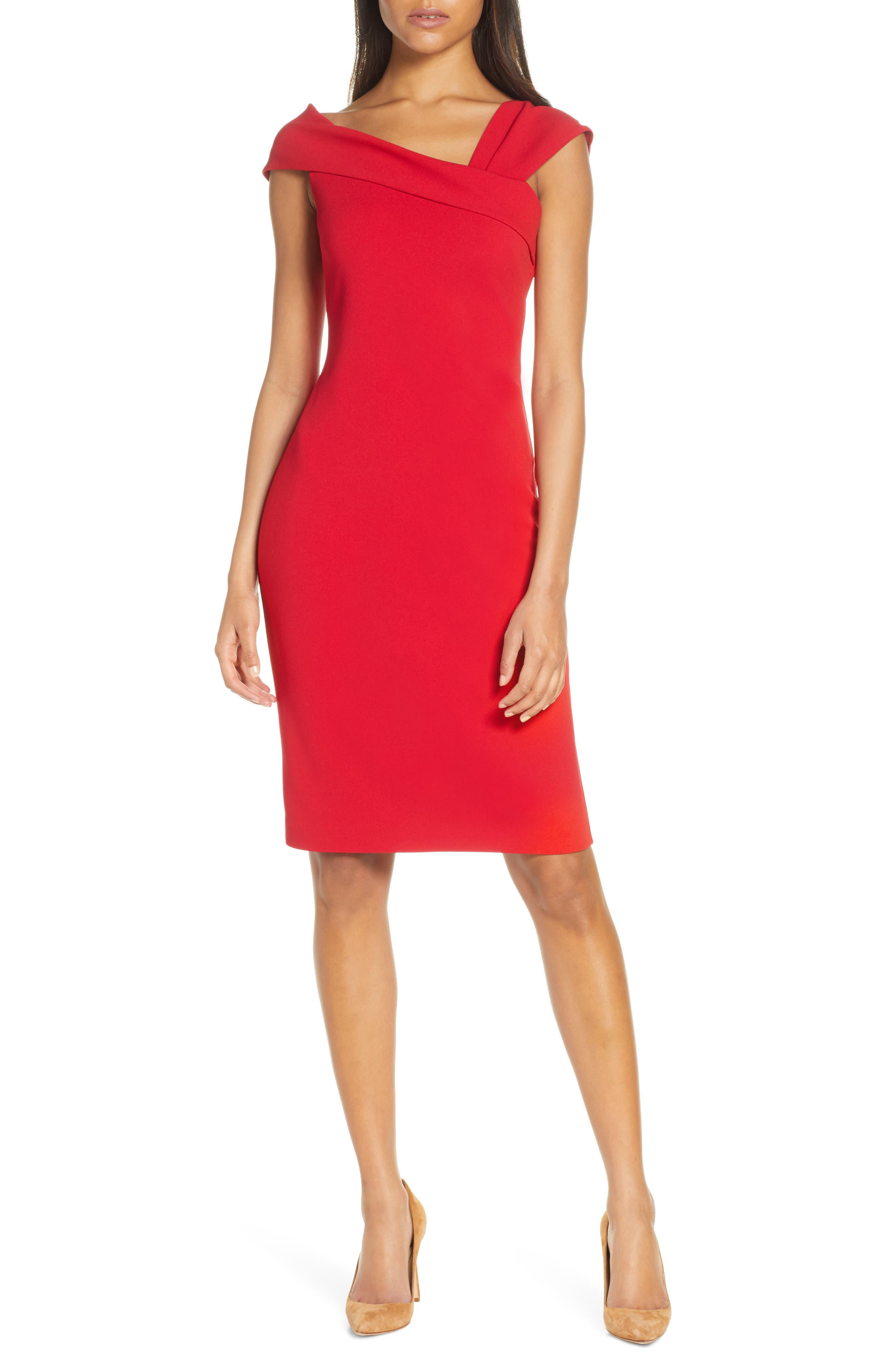 Vince Camuto Asymmetrical Neck Sheath Dress, Red