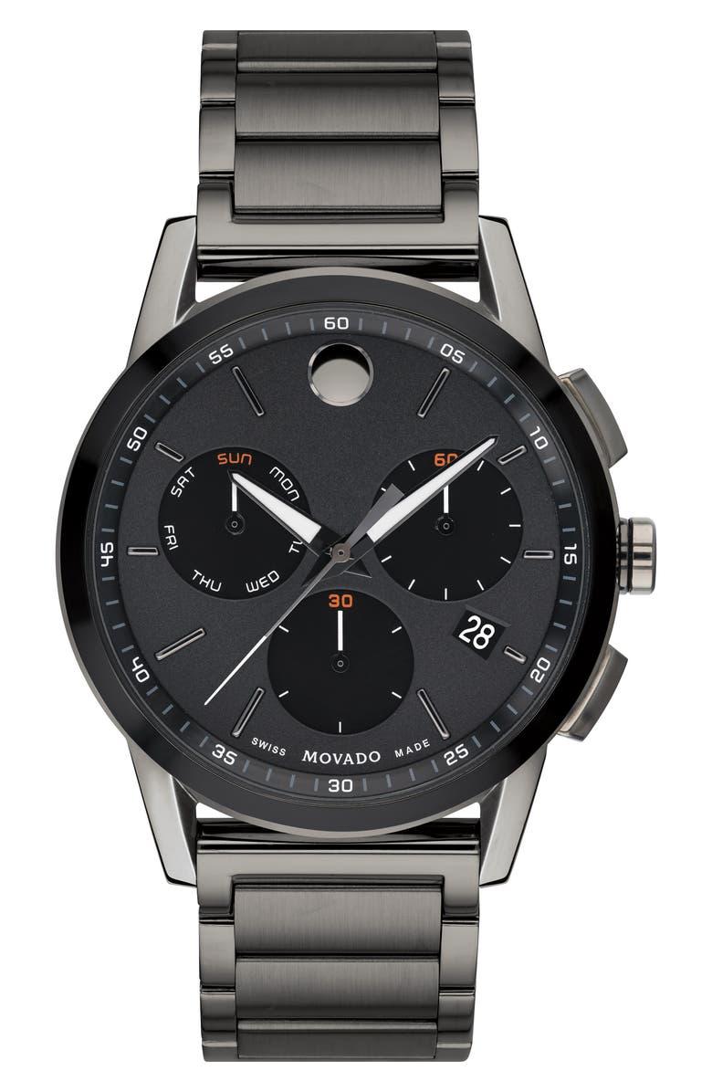 MOVADO Museum Sport Chronograph Bracelet Watch, 43mm, Main, color, GUNMETAL/ BLACK