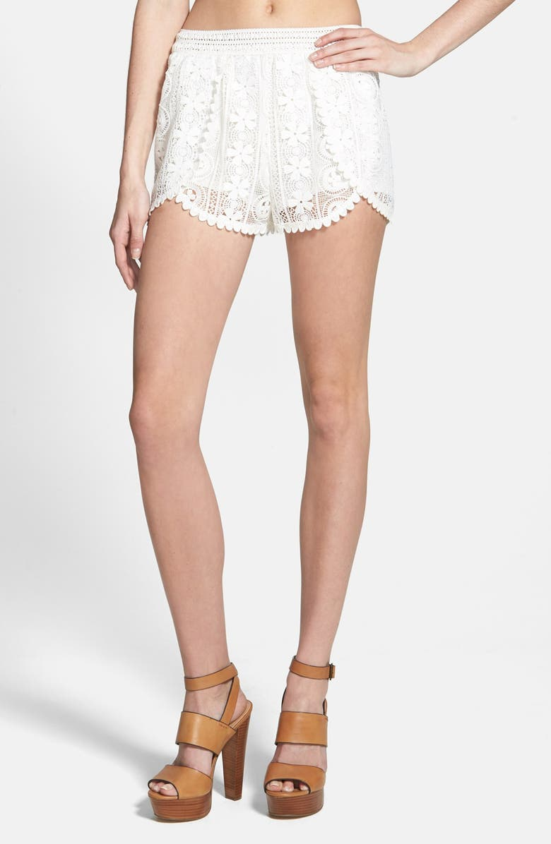 ASTR THE LABEL ASTR Lace Overlay Tulip Hem Shorts, Main, color, 900