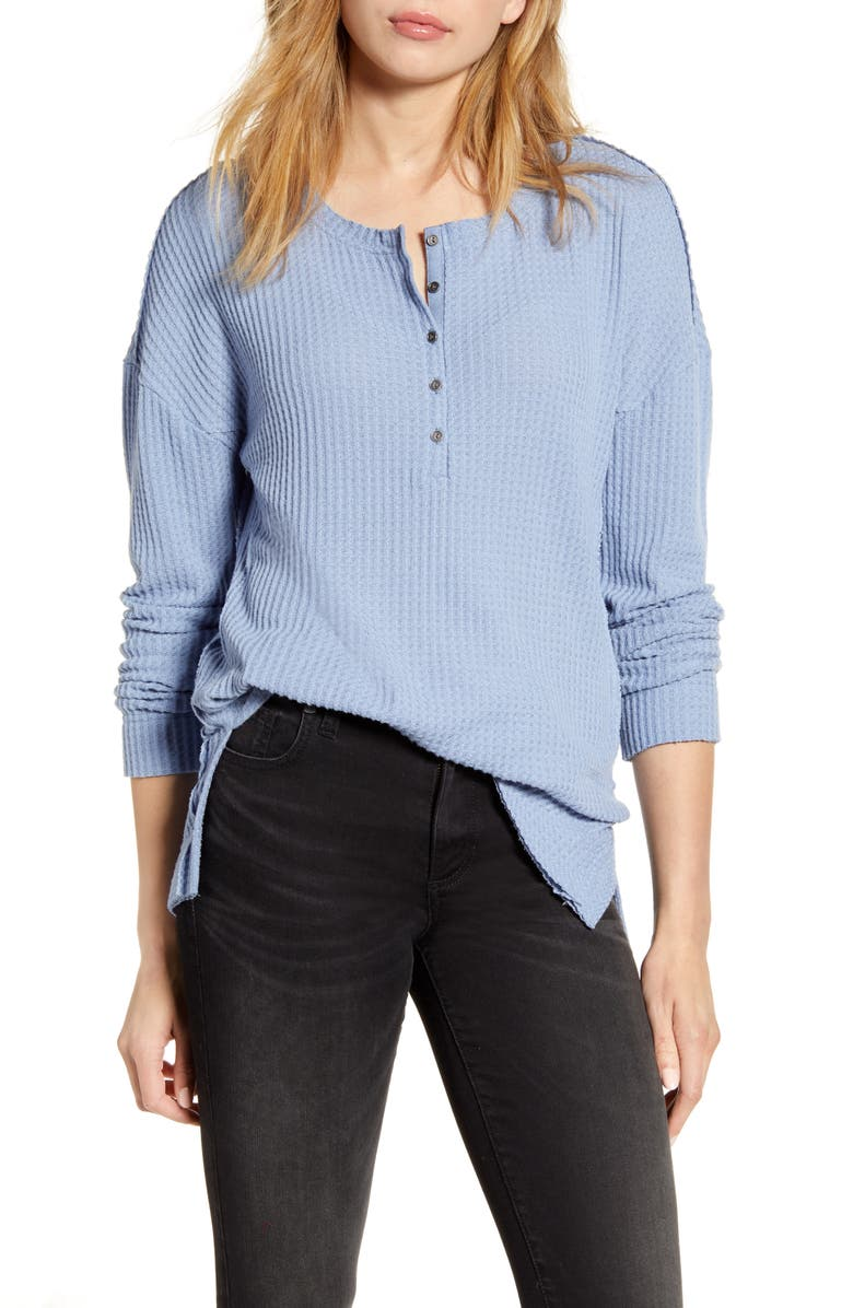CASLON<SUP>®</SUP> Thermal Henley Top, Main, color, BLUE COUNTRY