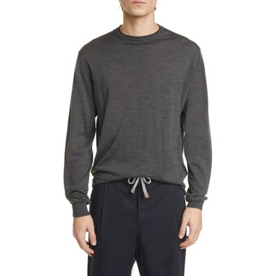 Eleventy Fine Gauge Merino Wool & Silk Crewneck Sweater, Grey