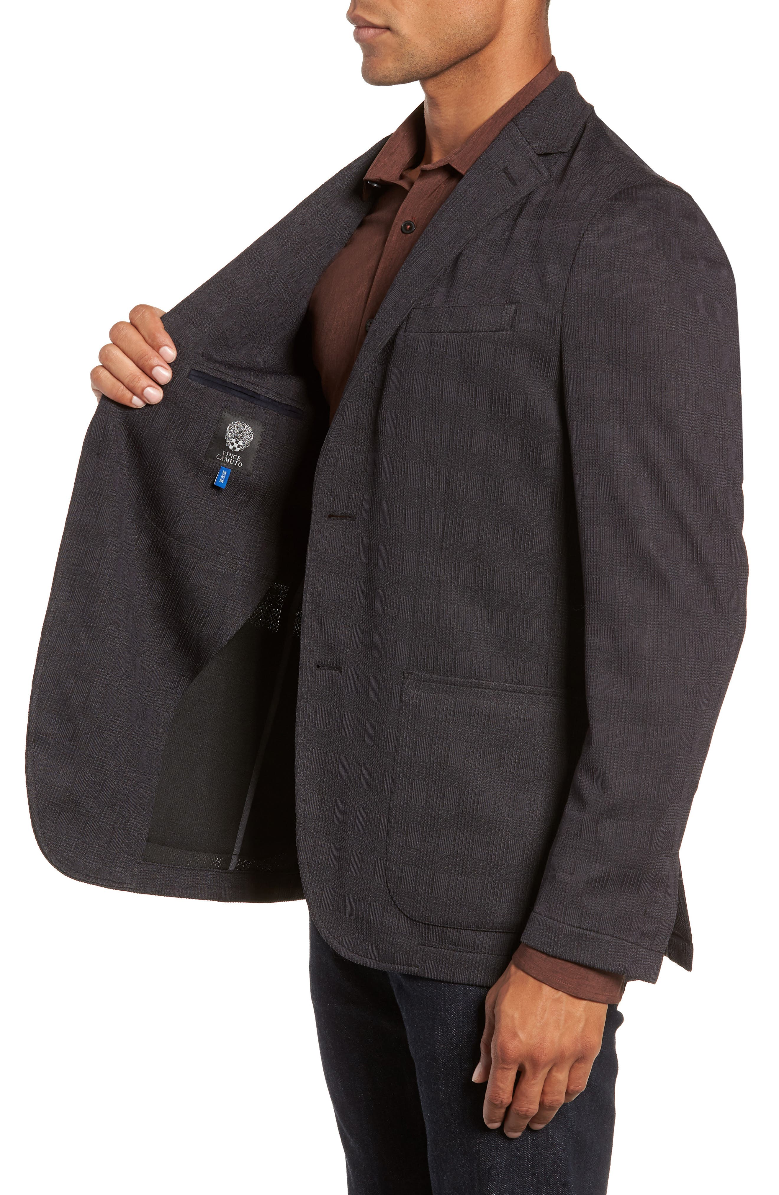 ,                             Slim Fit Stretch Knit Sport Coat,                             Alternate thumbnail 4, color,                             CHARCOAL CHECK