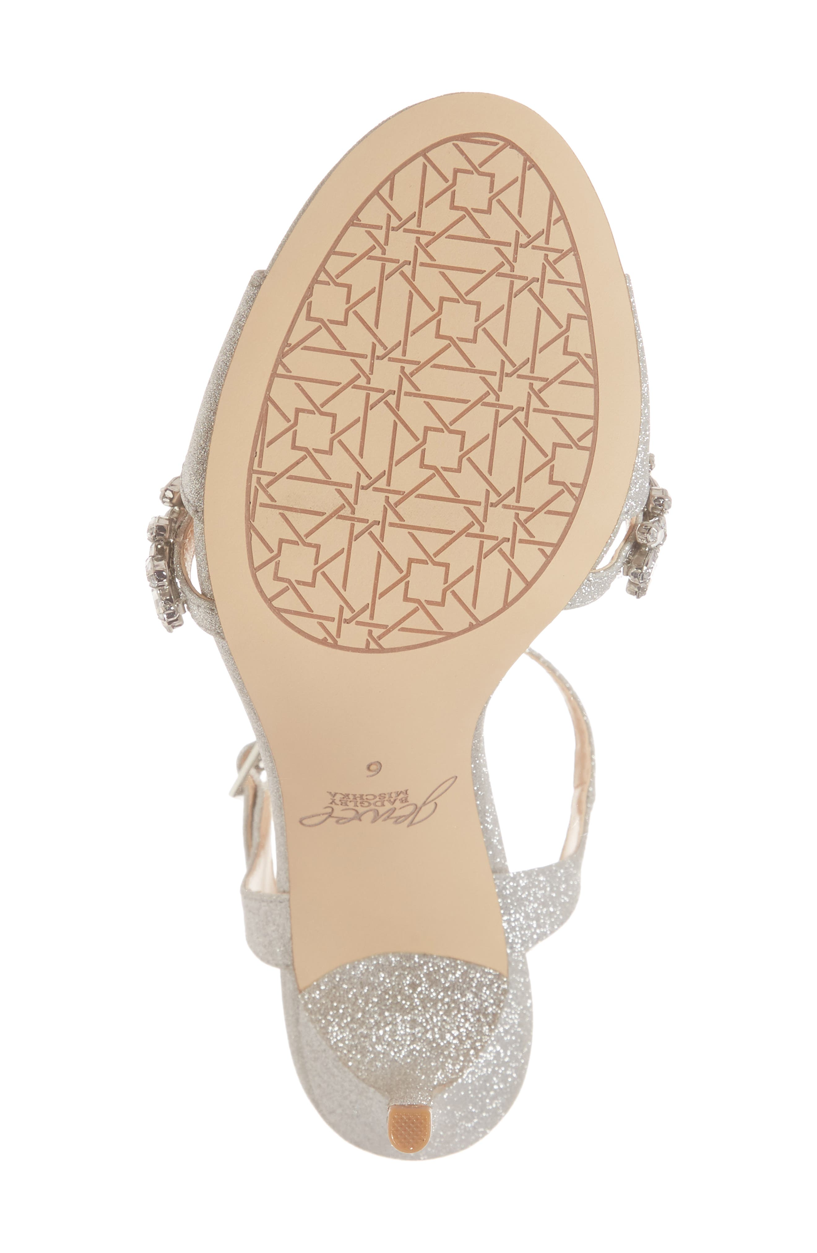 ,                             Maxi Crystal Embellished Sandal,                             Alternate thumbnail 6, color,                             SILVER GLITTER FABRIC