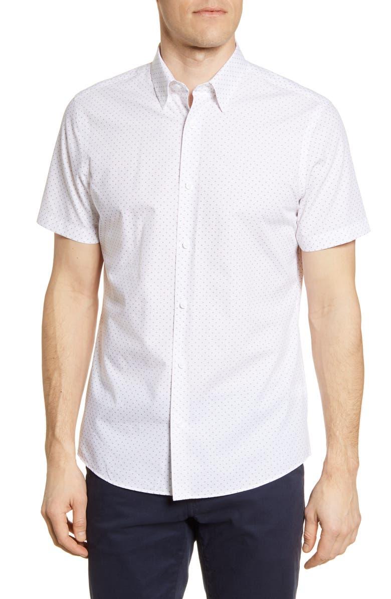 NORDSTROM MEN'S SHOP Trim Fit Arrow Print Non-Iron Short Sleeve Button-Up Shirt, Main, color, WHITE RED DOUBLE ARROW