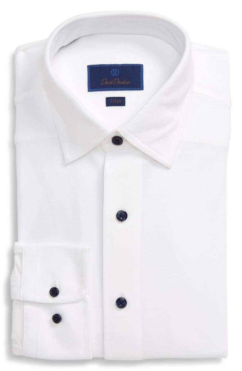 DAVID DONAHUE Trim Fit Solid Dress Shirt, Main, color, WHITE