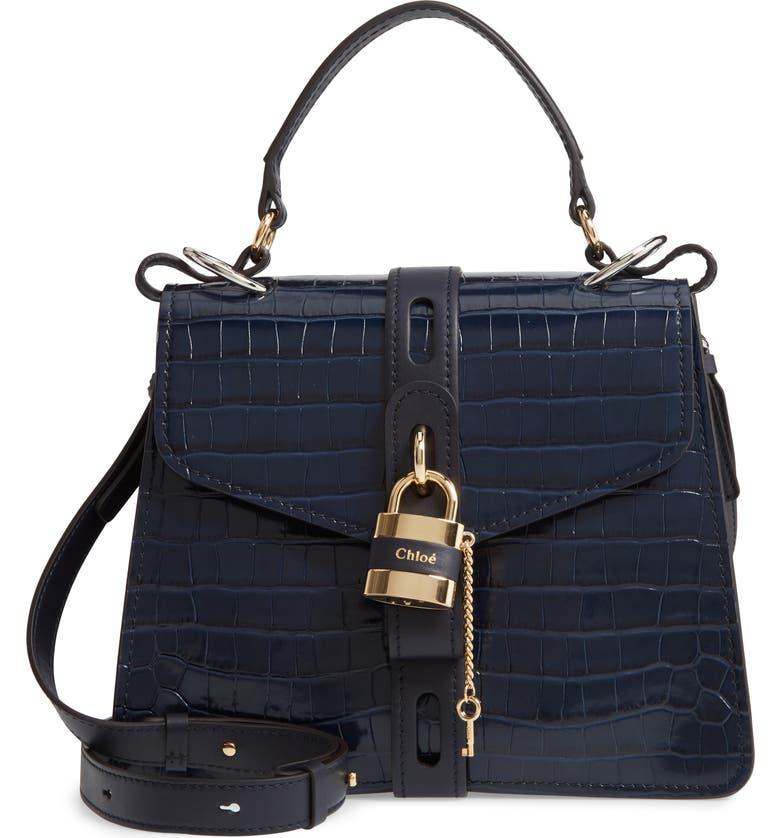 CHLOÉ Medium Aby Croc Embossed Calfskin Shoulder Bag, Main, color, FULL BLUE