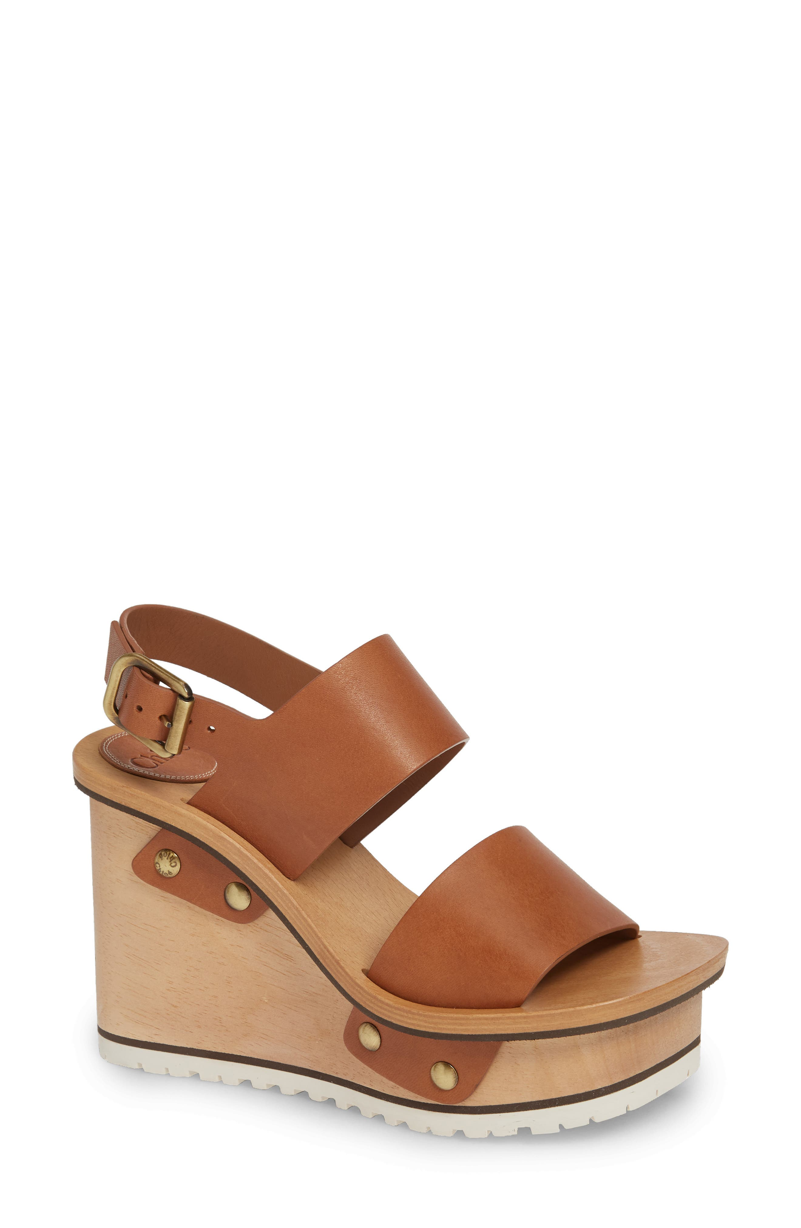 Chloe Valentine Platform Wedge Sandal, Brown