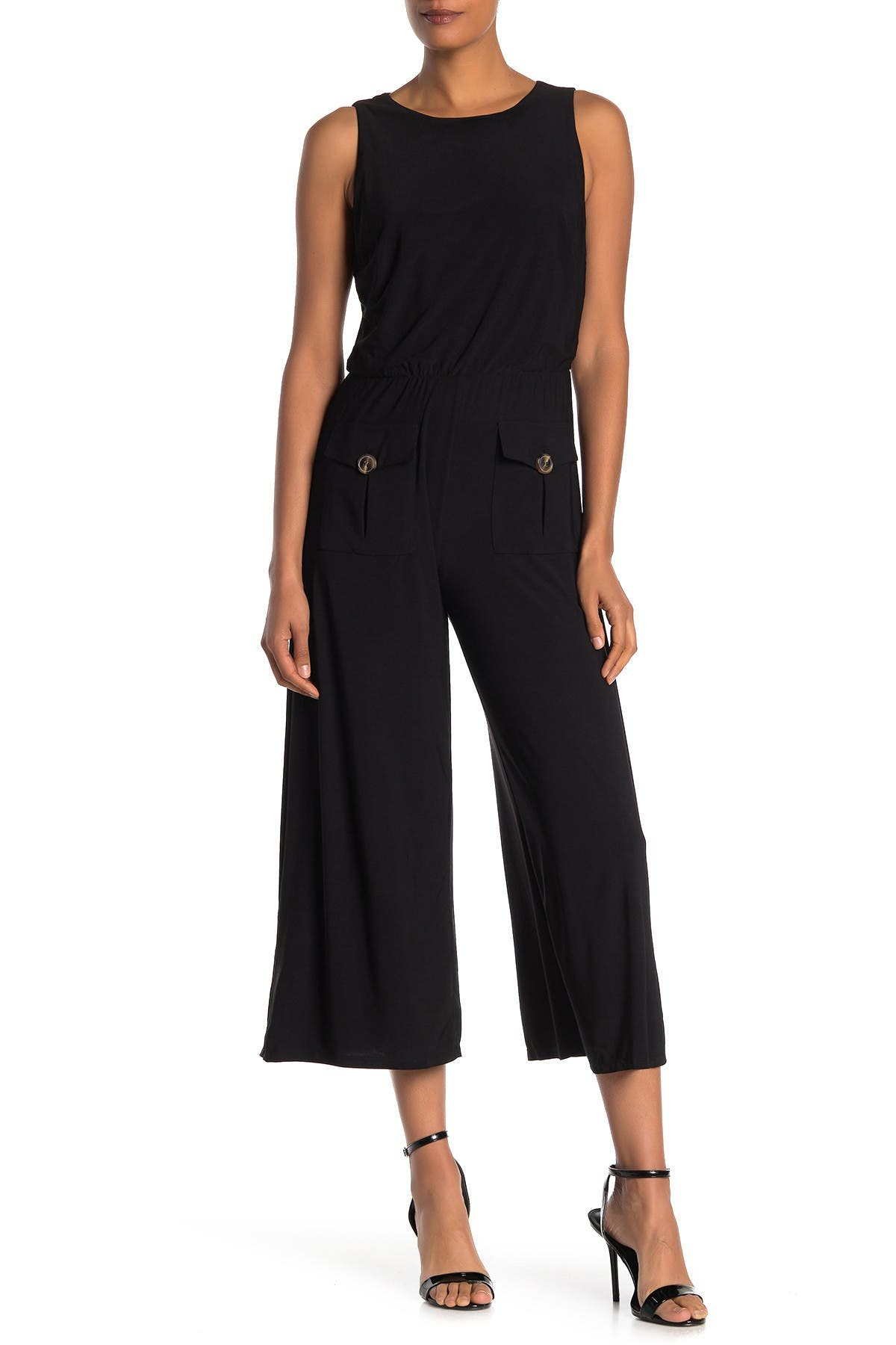 Image of MSK Front Button Sleeveless Jumpsuit