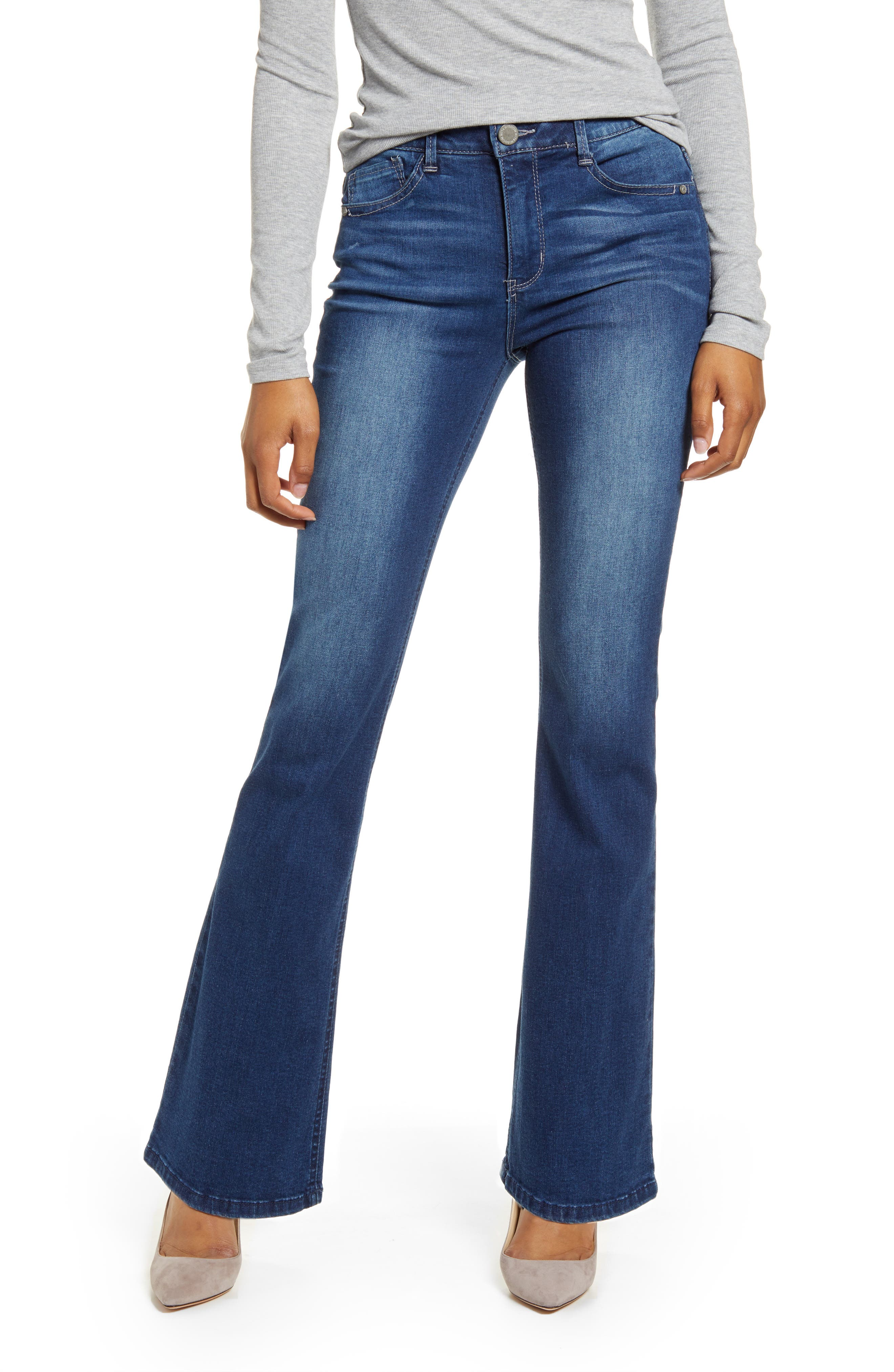 Wit & Wisdom\\\'s revolutionary fit system takes care of shaping, molding and holding, so all you need to worry about is looking amazing in these bootcut blue jeans. Style Name: Wit & Wisdom Ab-Solution Itty Bitty High Waist Bootcut Jeans (Regular & Petite) (Nordstrom Exclusive). Style Number: 5876558. Available in stores.