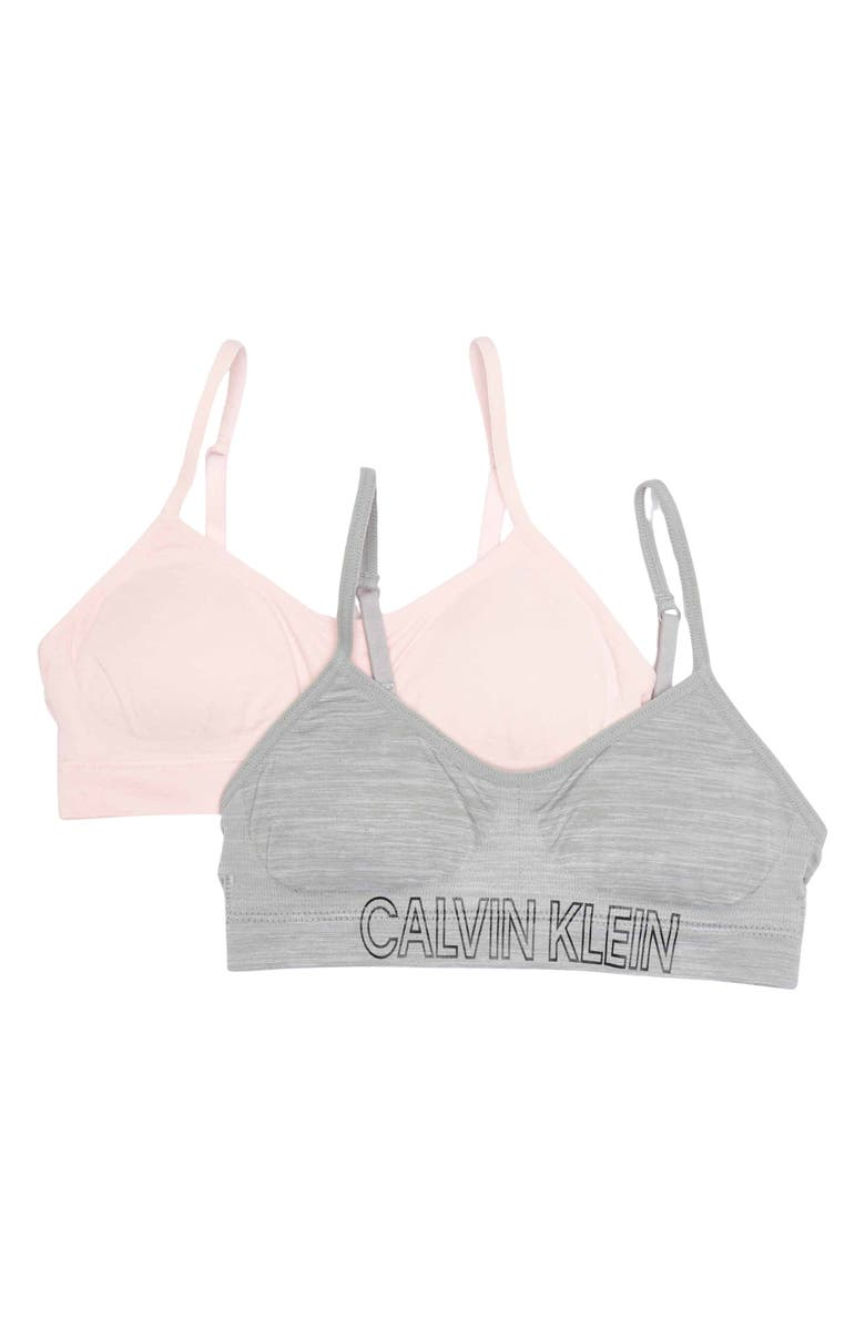 CALVIN KLEIN Seamless Soft Crop Bras - Pack of 2, Main, color, CRYSTAL PINK/HEATHER GRAY