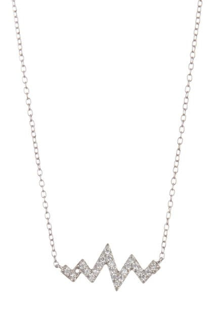 Image of ADORNIA Sterling Silver Swarovski Crystal Heartbeat Zigzag Necklace