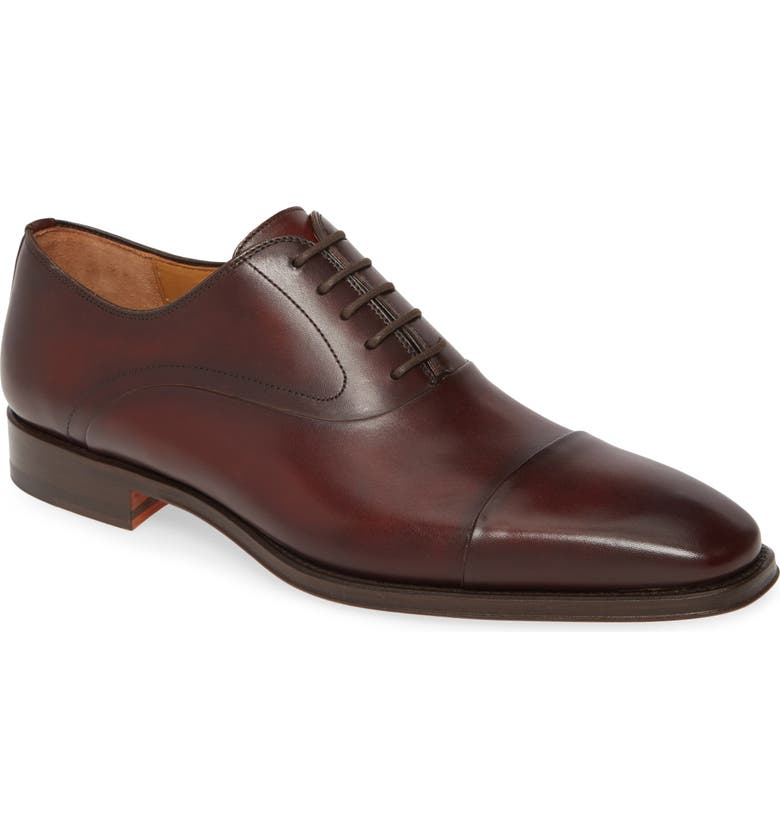 MAGNANNI Saffron Cap Toe Oxford, Main, color, TOBACCO LEATHER