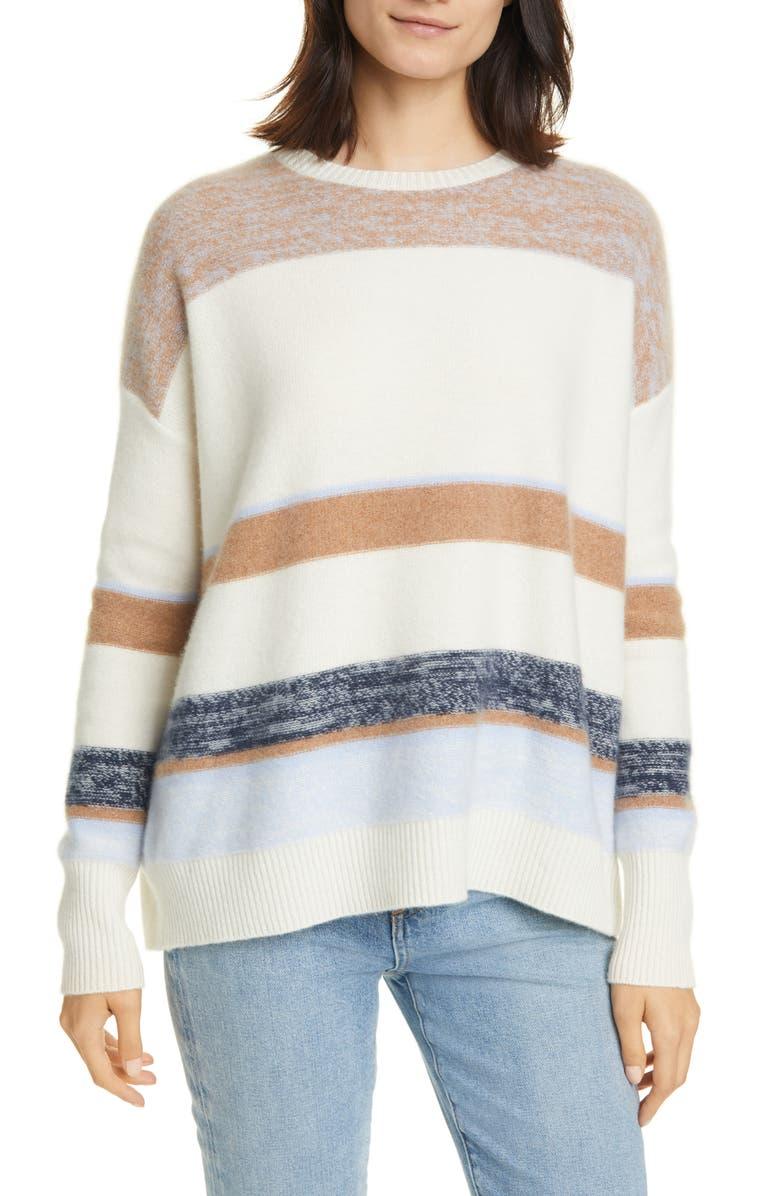 NORDSTROM SIGNATURE Stripe Crewneck Cashmere Sweater, Main, color, IVORY MULTI STRIPE
