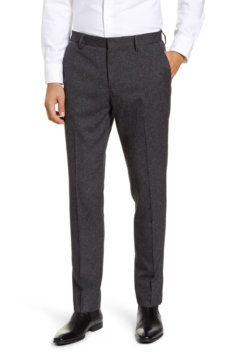 NORDSTROM MEN'S SHOP Flat Front Stretch Chino Pants, Main, color, GREY CHARCOAL NEP