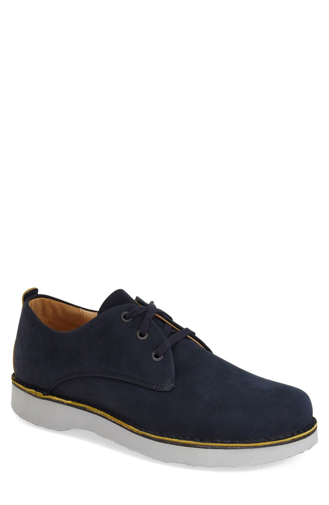 'Free' Plain Toe Derby, Main, color, NAVY NUBUCK