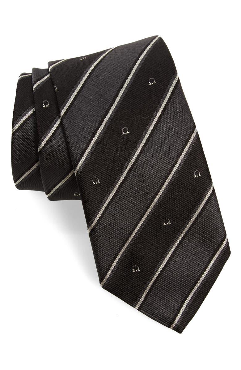 SALVATORE FERRAGAMO Italia Stripe Gancio Silk Tie, Main, color, F.NERO