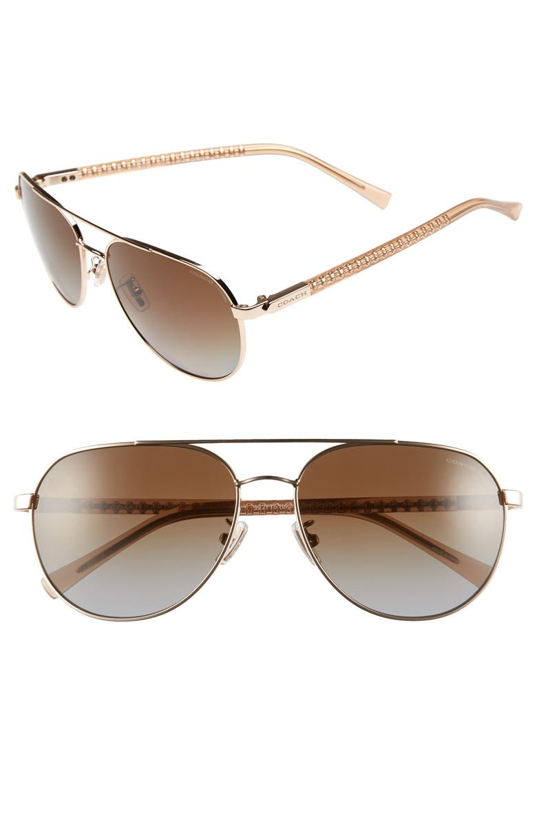 COACH 58mm Polarized Aviator Sunglasses, Main, color, 710