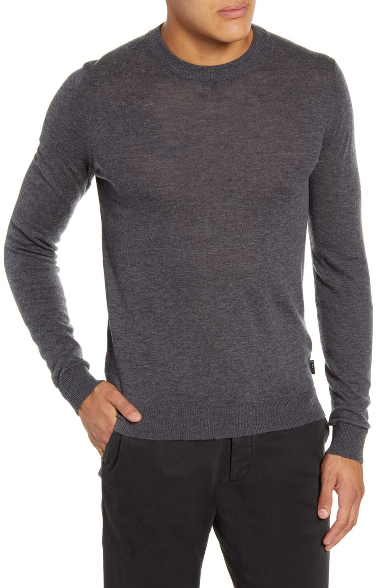 TED BAKER LONDON Chemin Slim Fit Crewneck Sweater, Main, color, CHARCOAL