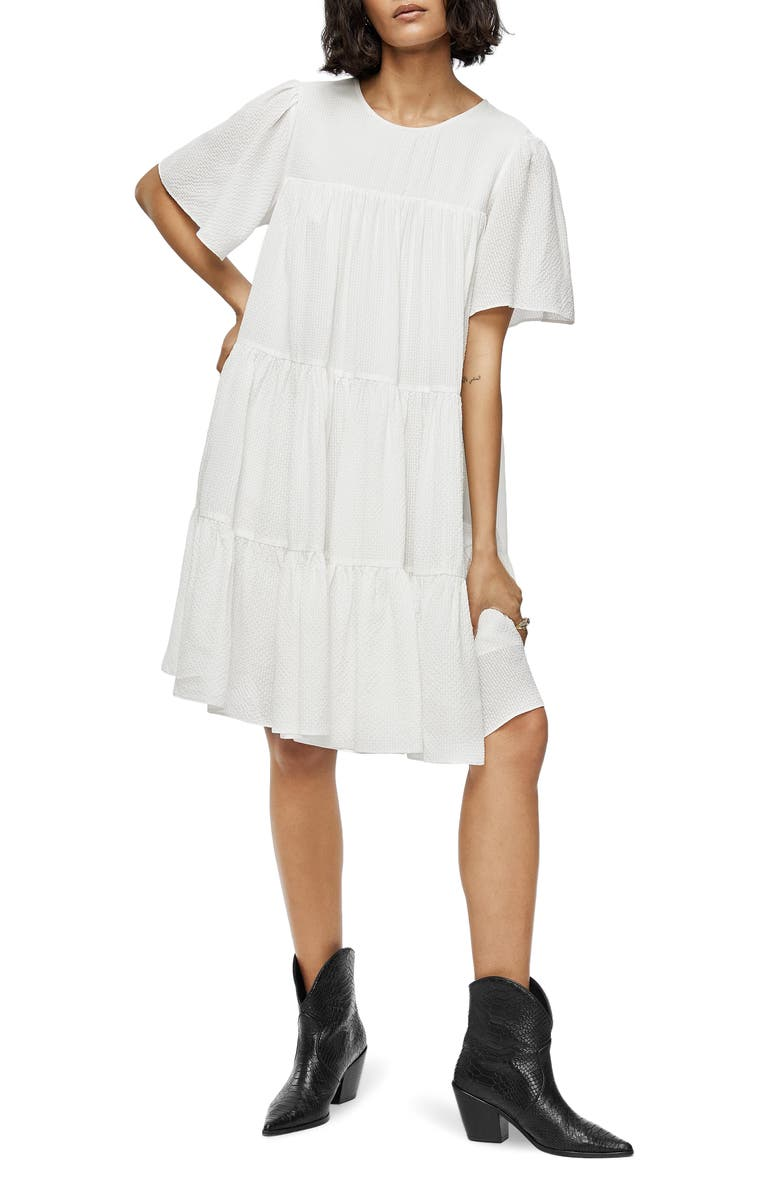 ANINE BING Tabitha Tiered Dress, Main, color, WHITE