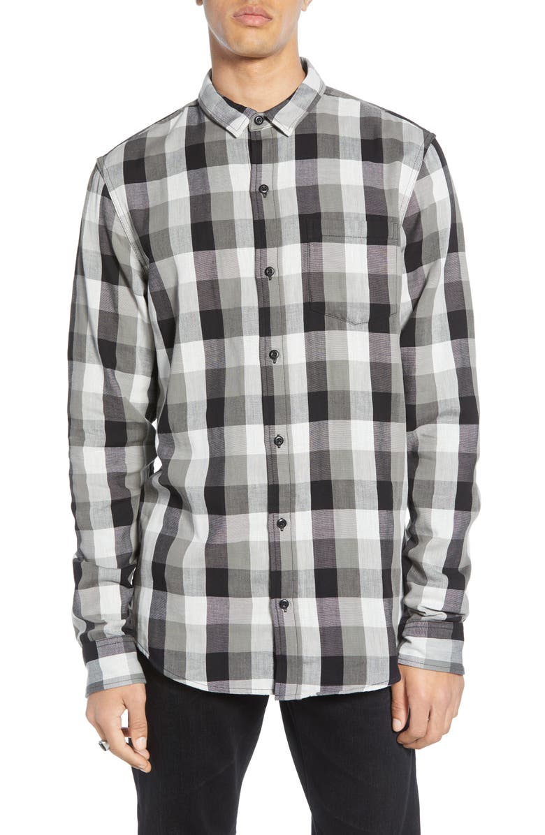 BP. Duofold Longline Plaid Button-Up Shirt, Main, color, BLACK - GREY BUFFALO PLAID