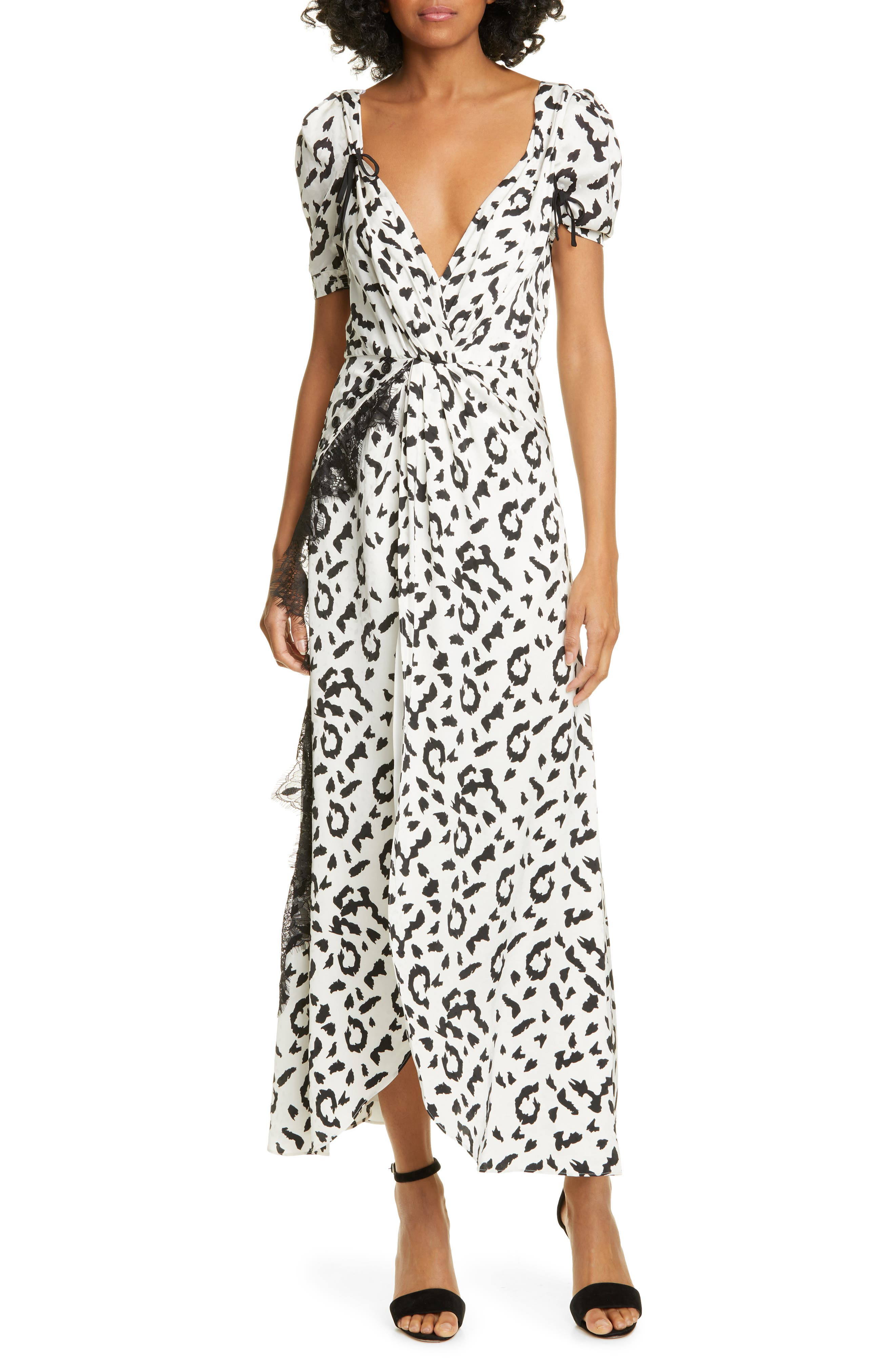 Self-Portrait Leopard Print Twist Front Dress, Ivory