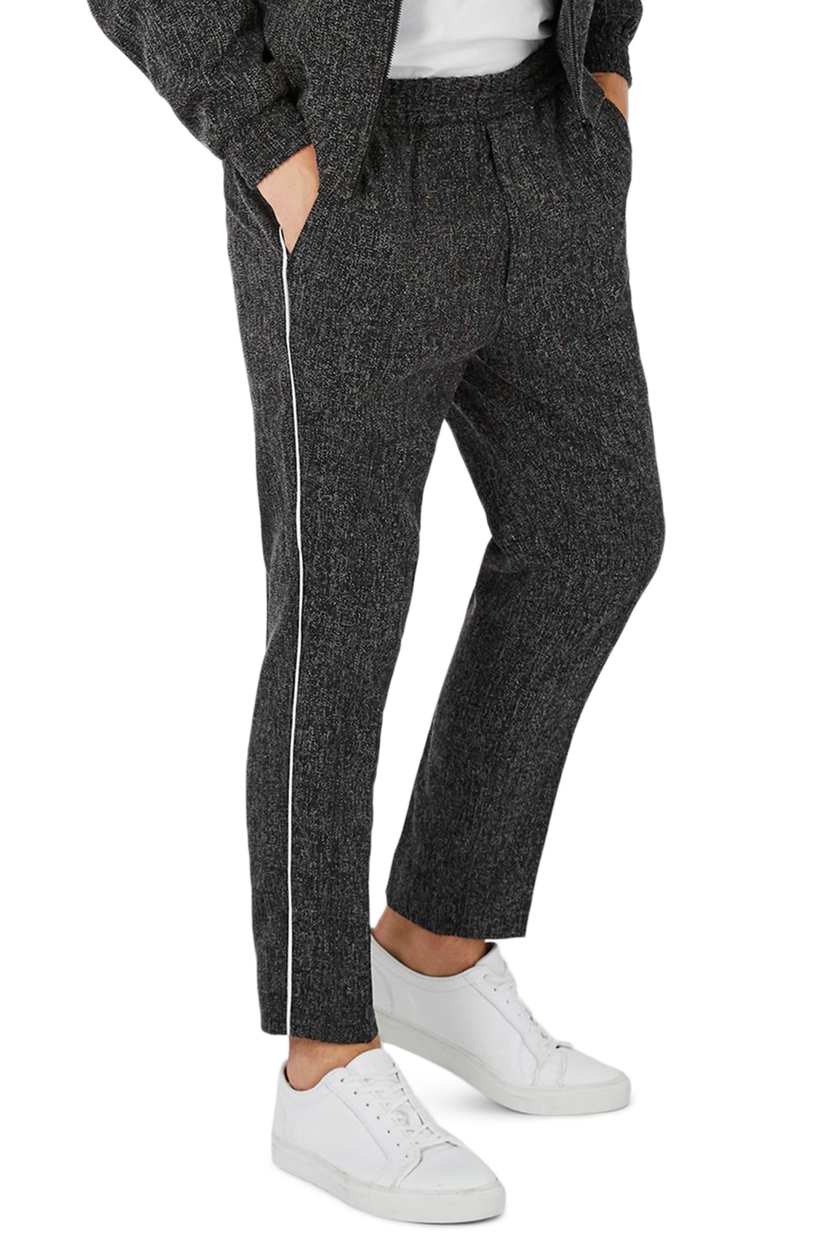 Kids Pipe and Moustache Boys Girls Sweatpants Active Jogger Pants Back Pocket Black