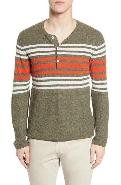 Image of Billy Reid Engineered Stripe Henley Sweater