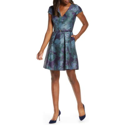 Vince Camuto Cap Sleeve Jacquard Fit & Flare Dress, Blue/green