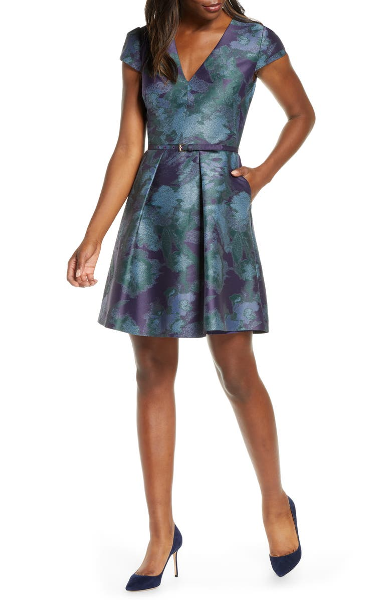 VINCE CAMUTO Cap Sleeve Jacquard Fit & Flare Dress, Main, color, NAVY MULTI