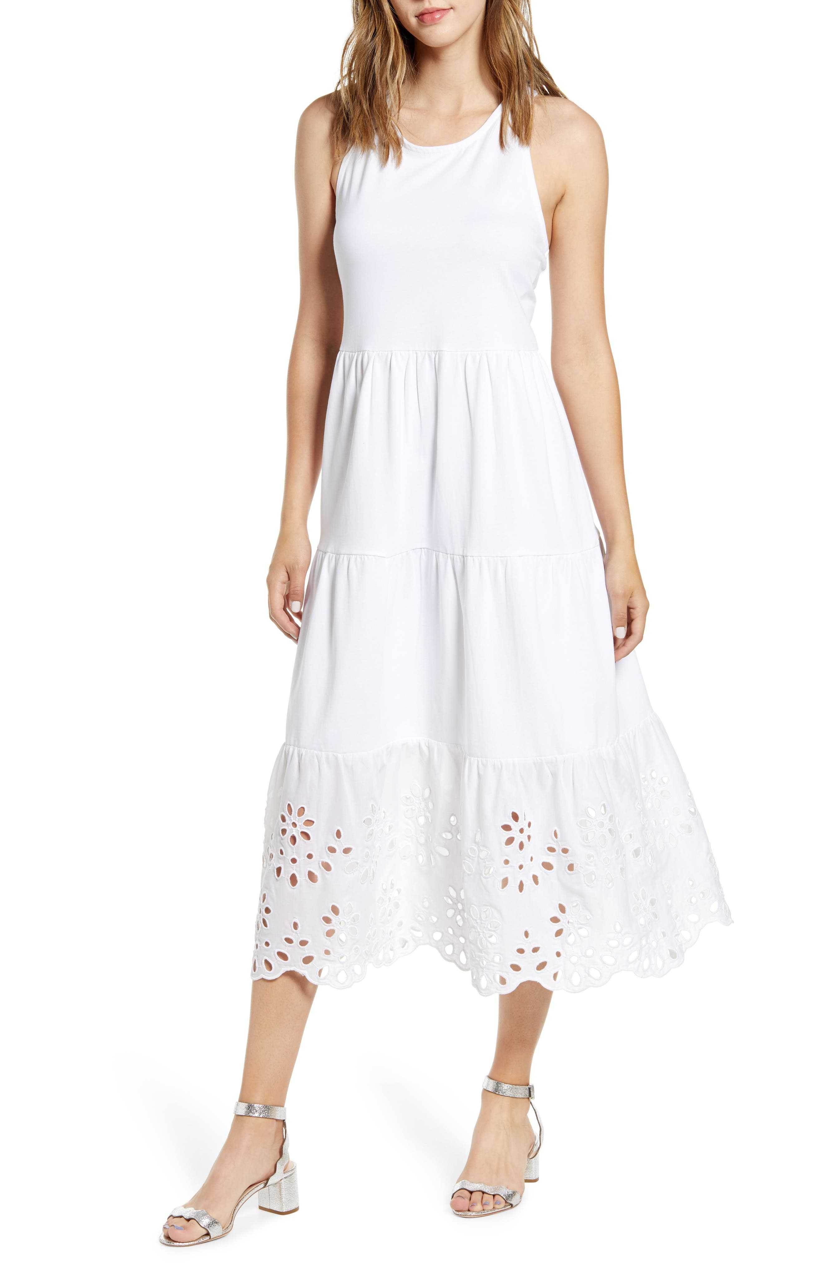J.crew Eyelet Trim Tiered Knit Maxi Dress, White