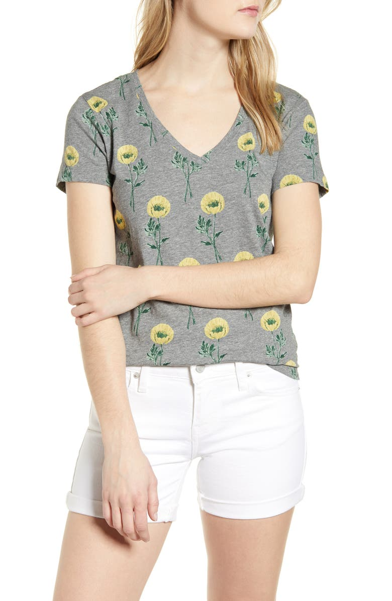 LUCKY BRAND Floral Print T-Shirt, Main, color, HEATHER GREY MULTI