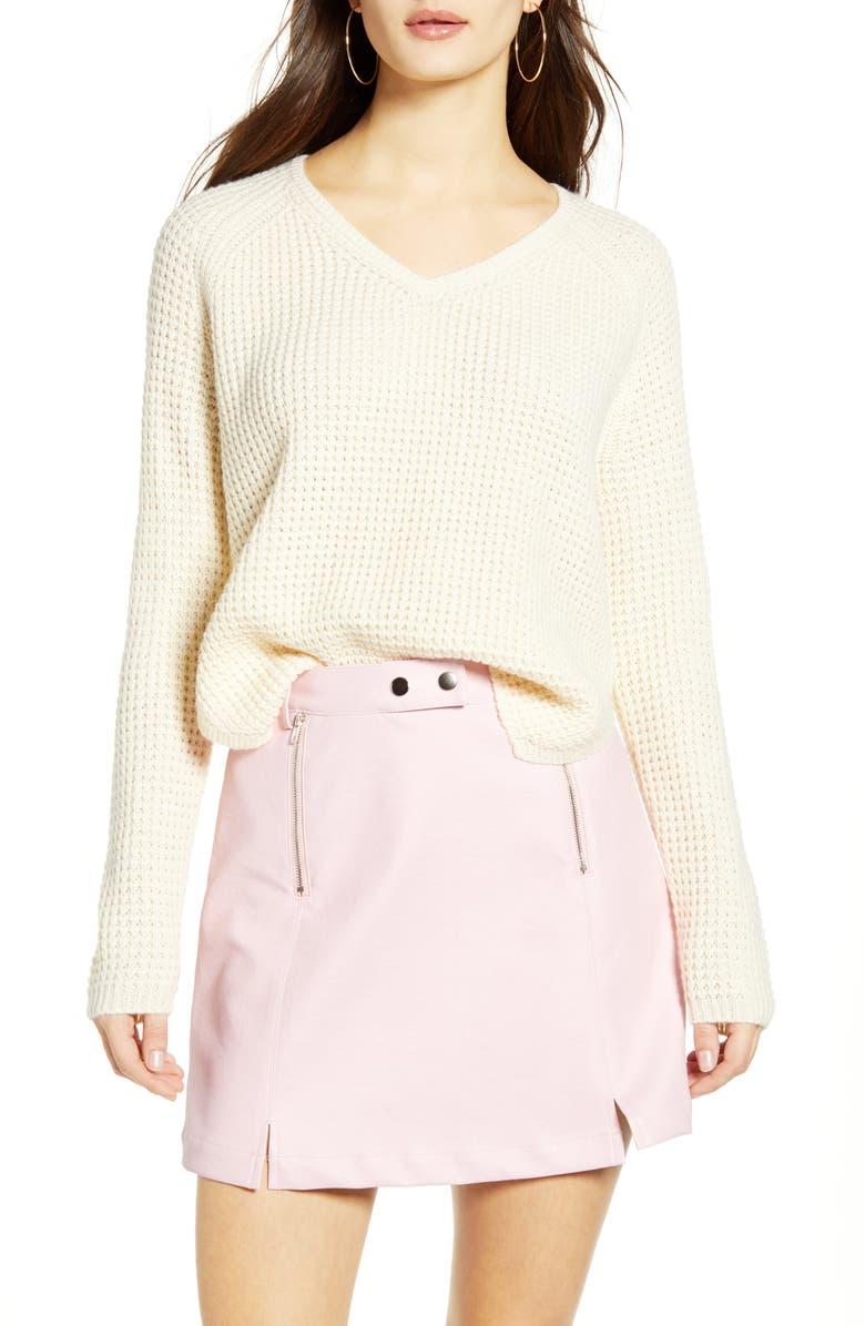VERO MODA Leanna V-Neck Pullover, Main, color, BIRCH