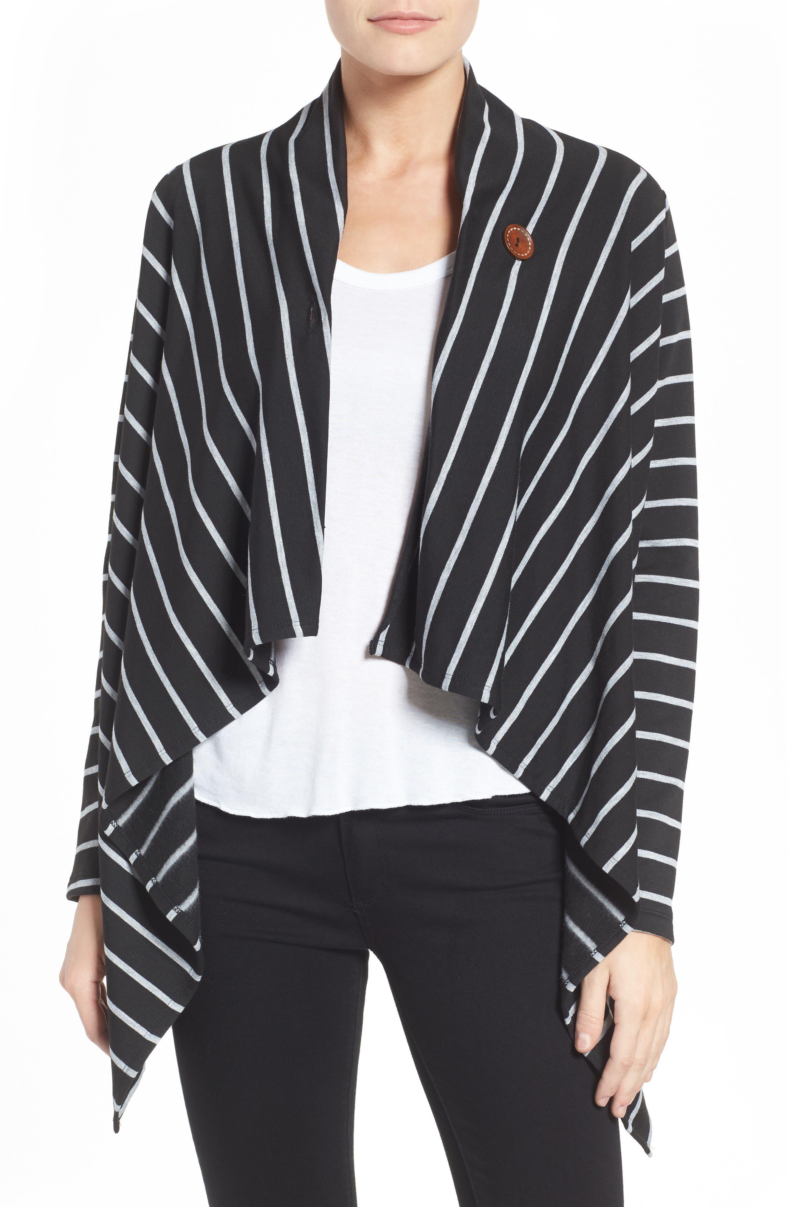 ,                             One-Button Fleece Wrap Cardigan,                             Main thumbnail 27, color,                             002