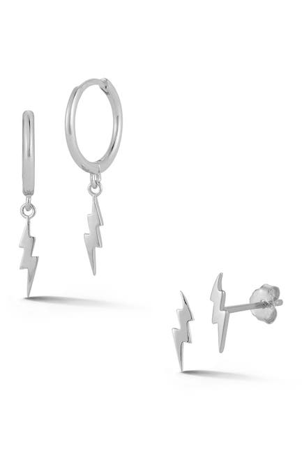 Image of Sphera Milano Rhodium Plated Sterling Silver Lightening Bolt Earrings Set