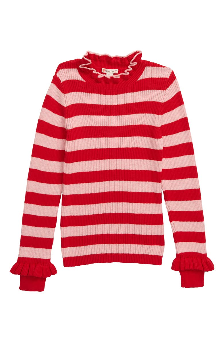 CREWCUTS BY J.CREW Stripe Ribbed Turtleneck Sweater, Main, color, RED BLUSH STRIPE