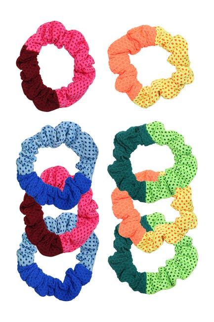 Image of Berry Two-Tone Sport Mesh Scrunchie Set - Pack of 8