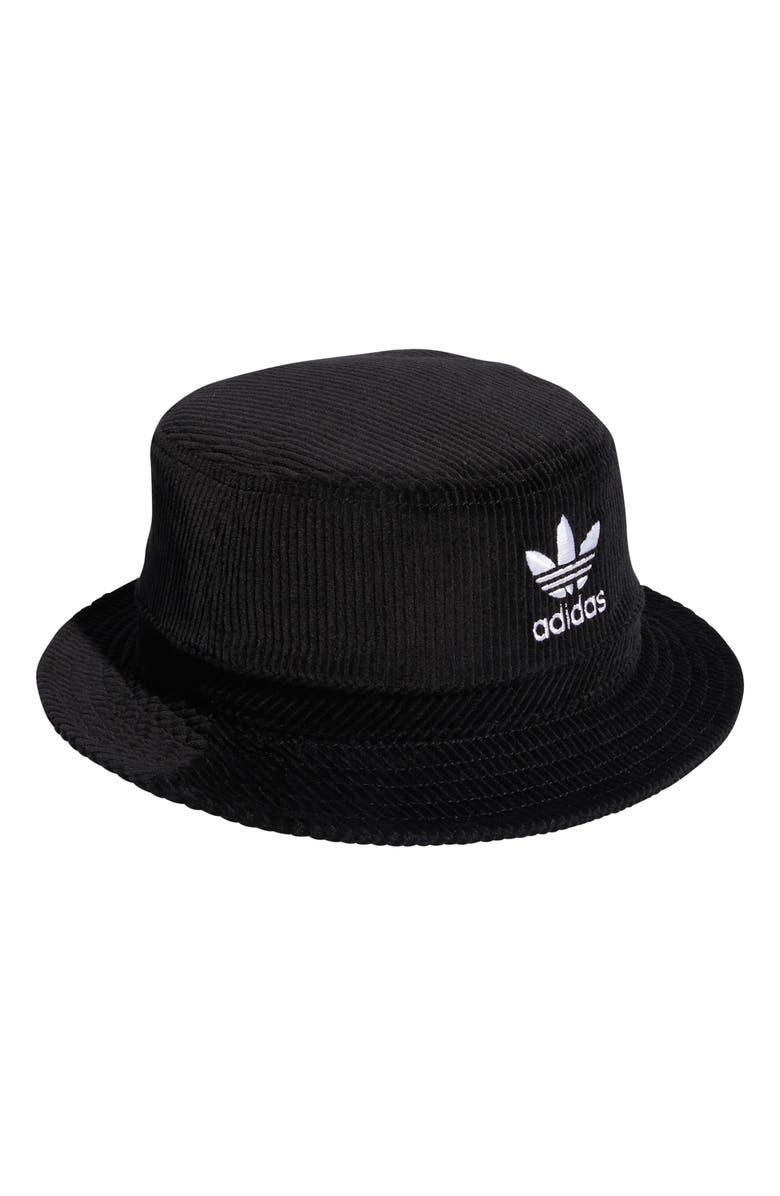ADIDAS Corduroy Bucket Hat, Main, color, BLACK