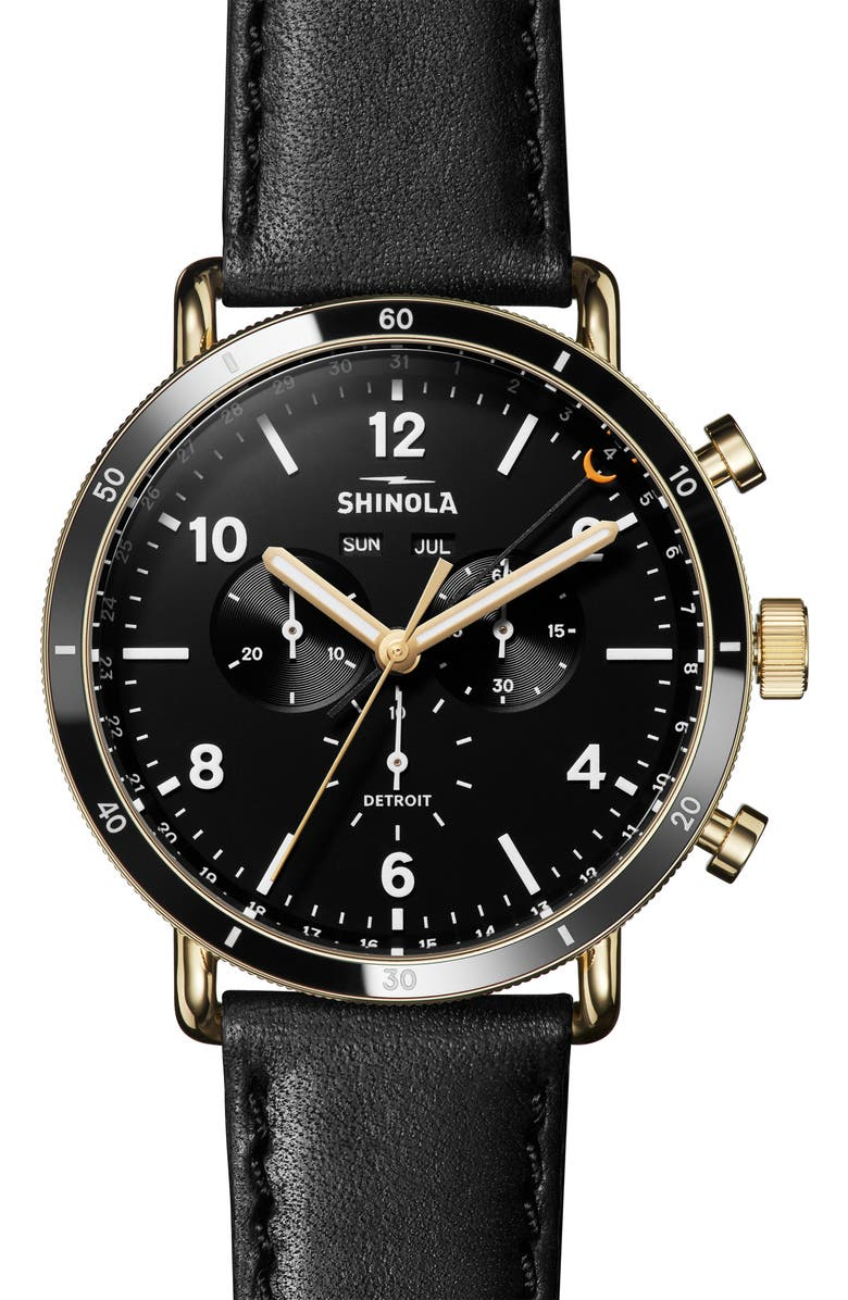 SHINOLA The Canfield Sport Chrongraph Leather Strap Watch, 45mm, Main, color, BLACK/ GOLD