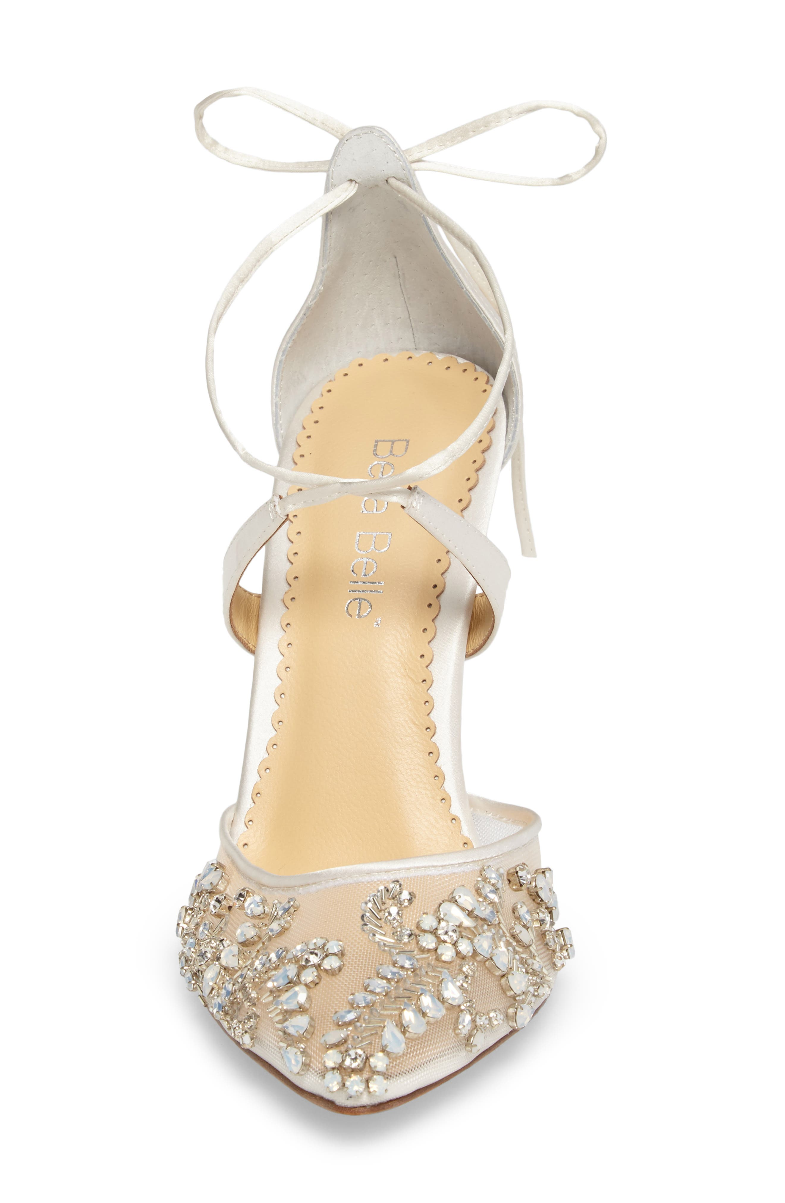 ,                             Florence Embellished Bow Sandal,                             Alternate thumbnail 4, color,                             IVORY FABRIC
