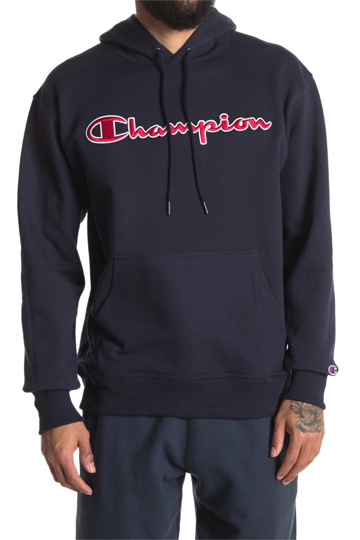 Image of Champion Powerblend Applique Pullover Hoodie