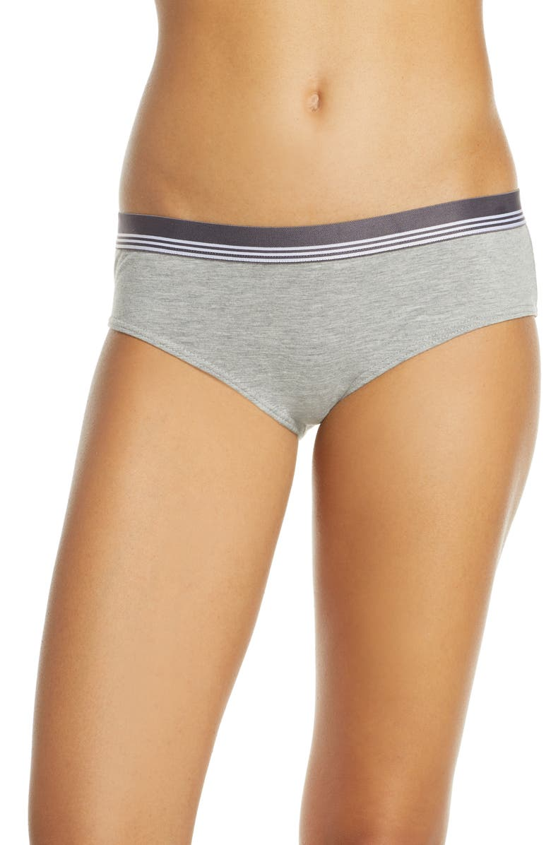 BP. Sporty Stripe Hipster Briefs, Main, color, GREY PEARL HEATHER