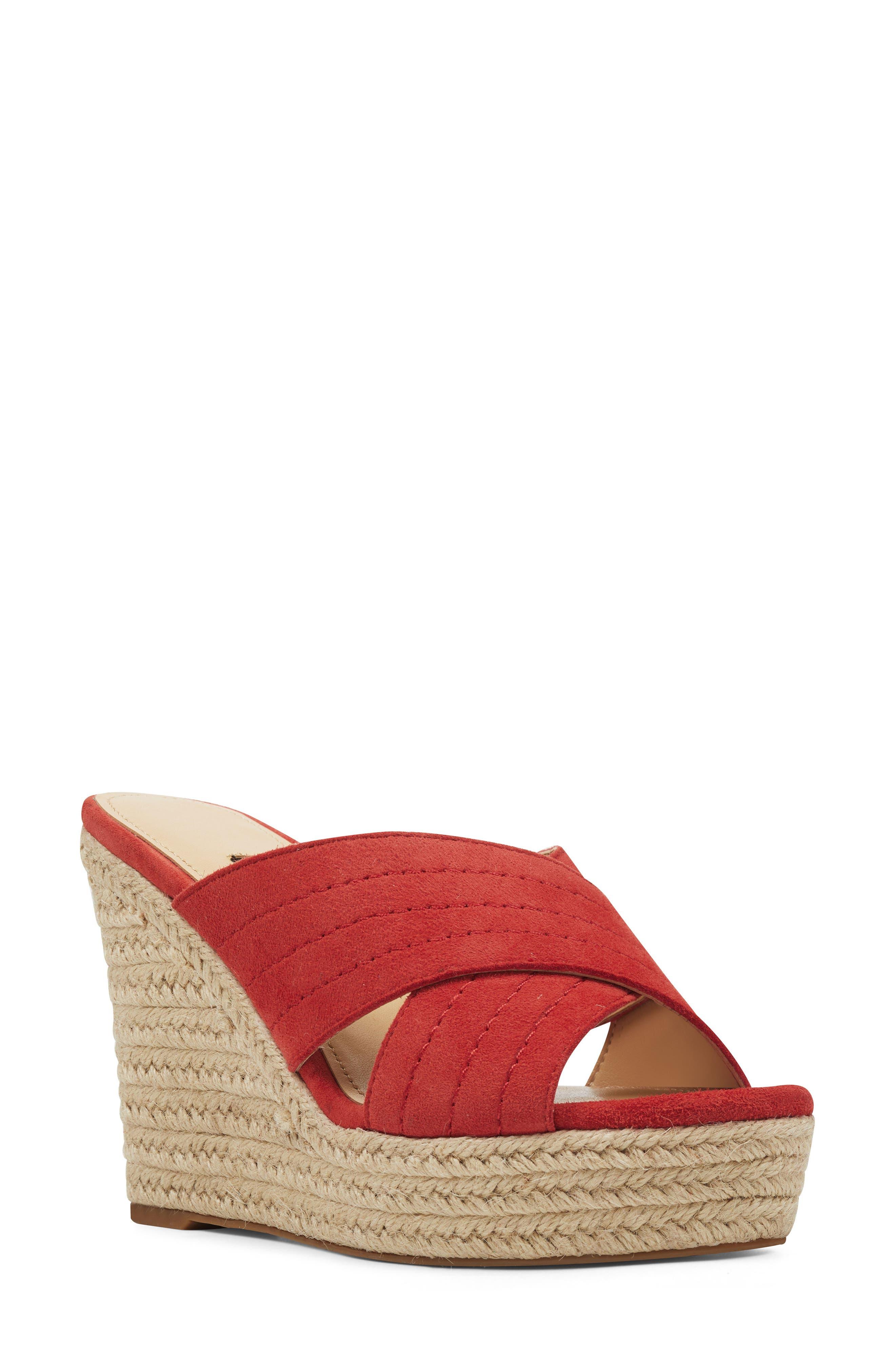 51c61be262 Nine West Hope Espadrille Wedge Slide Sandal- Red