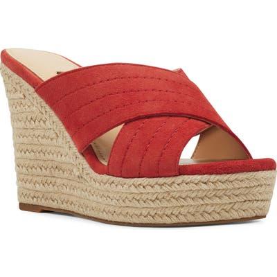 Nine West Hope Espadrille Wedge Slide Sandal, Red