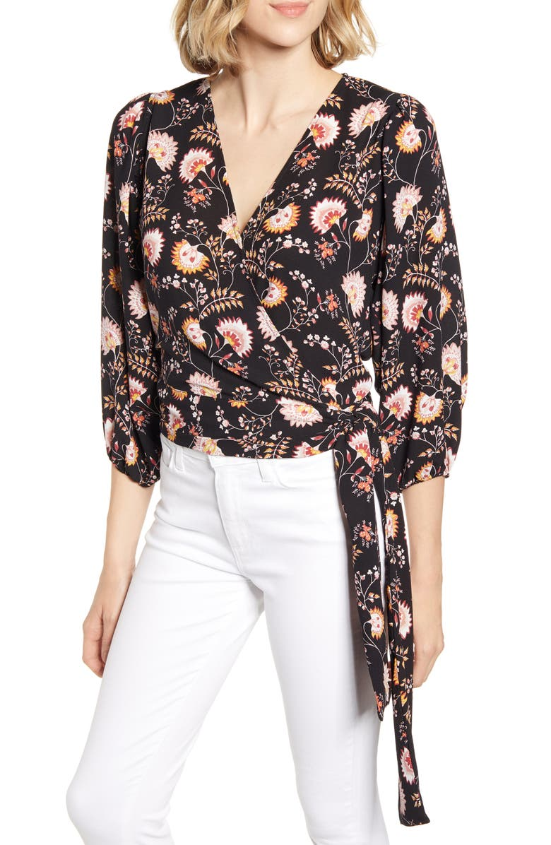 1.STATE Petal Leaf Garden Wrap Blouse, Main, color, 001