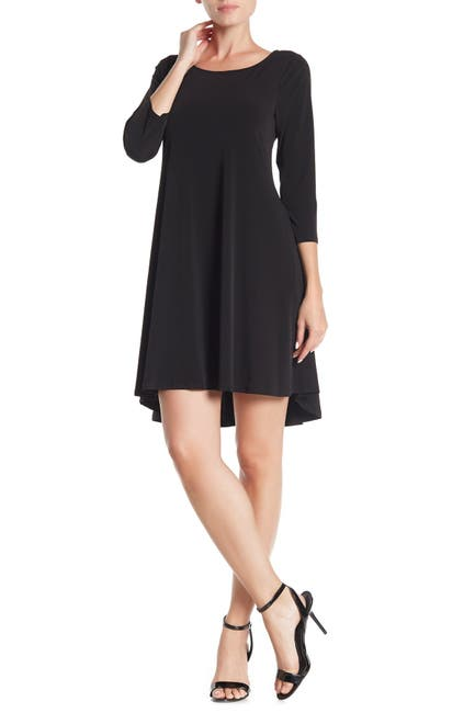 Image of Nina Leonard 3/4 Sleeve Stretch Knit Swing Dress