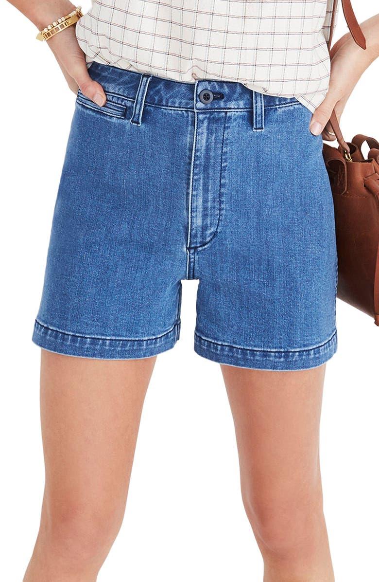 MADEWELL Emmett High Waist Denim Shorts, Main, color, 400