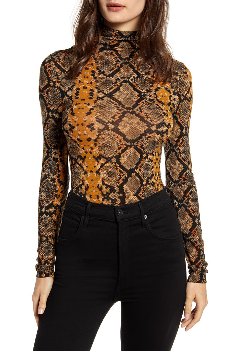 LEITH Lightweight Long Sleeve Funnel Neck Top, Main, color, BROWN SUGAR SNAKESKIN
