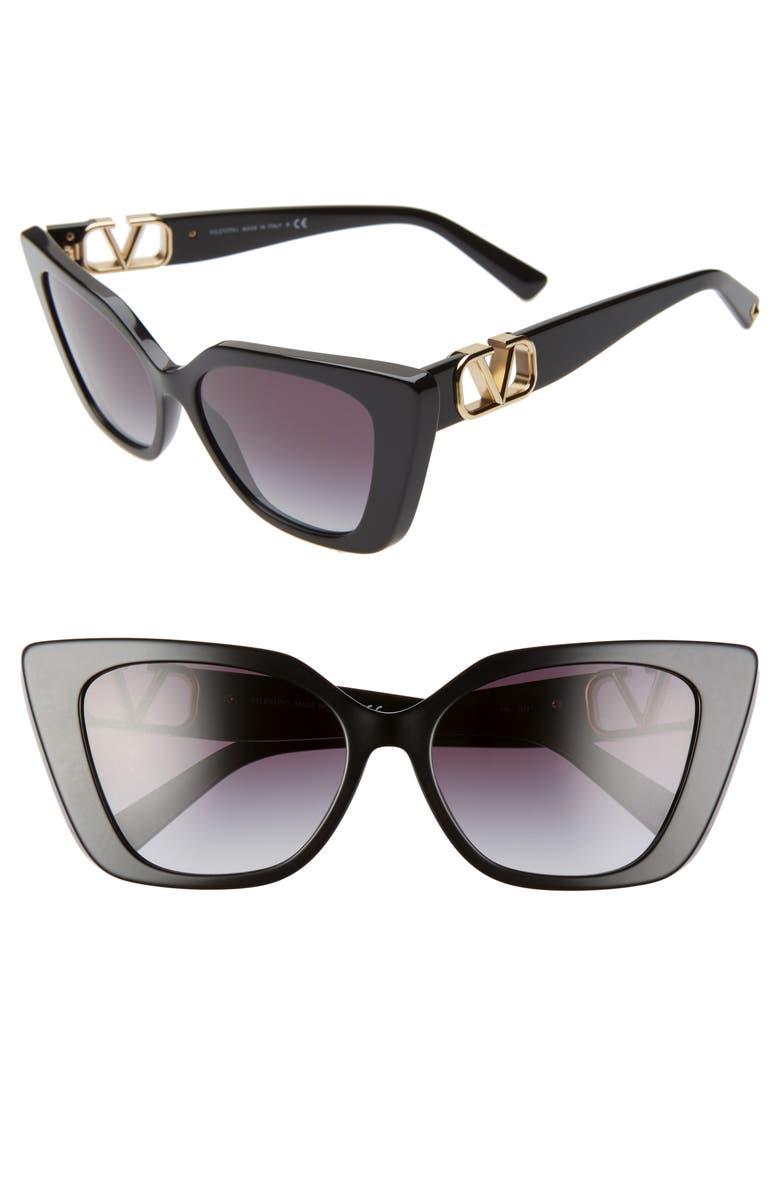 VALENTINO VLOGO 56mm Gradient Cat Eye Sunglasses, Main, color, BLACK/ GREY GRAD